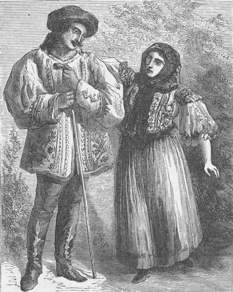 Associate Product HUNGARY. Costumes of Pesth 1893 old antique vintage print picture
