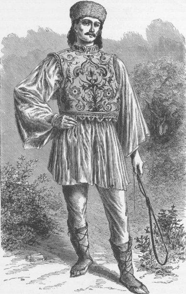 Associate Product ROMANIA. Wallachian peasant 1893 old antique vintage print picture