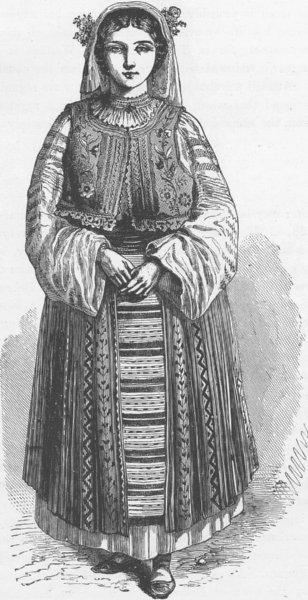 ROMANIA. Wallachian peasant woman 1893 old antique vintage print picture