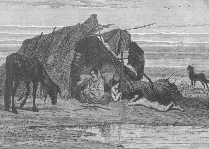 CROATIA. Encampment of gypsies in Slavonia 1893 old antique print picture