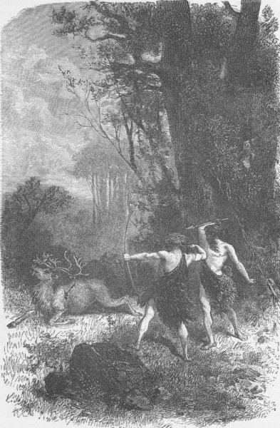 Associate Product ANIMALS. Chase of the reindeer during the Palaeolithic Epoch 1893 old print