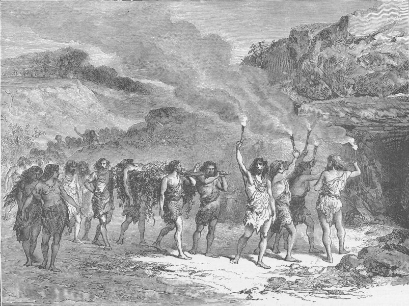 Associate Product PREHISTORIC. Funeral ceremony during the Palaeolithic Epoch 1893 old print