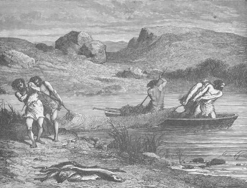Associate Product PREHISTORIC. Fishing during the polished stone (Neolithic) Period 1893 print