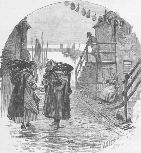 SCOTLAND. Newhaven fishwives 1893 old antique vintage print picture