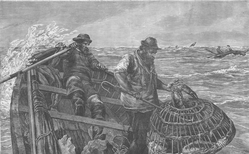 Associate Product ARTISTS. Crabbers (After J. C. Hook, R. A. )  1893 old antique print picture