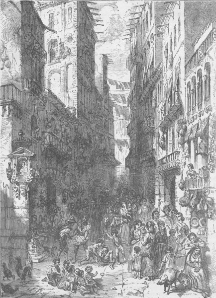 Associate Product ITALY. Street in Naples 1893 old antique vintage print picture