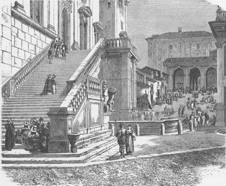 Associate Product ROME. Stairs of the senatorial palace, Rome 1893 old antique print picture