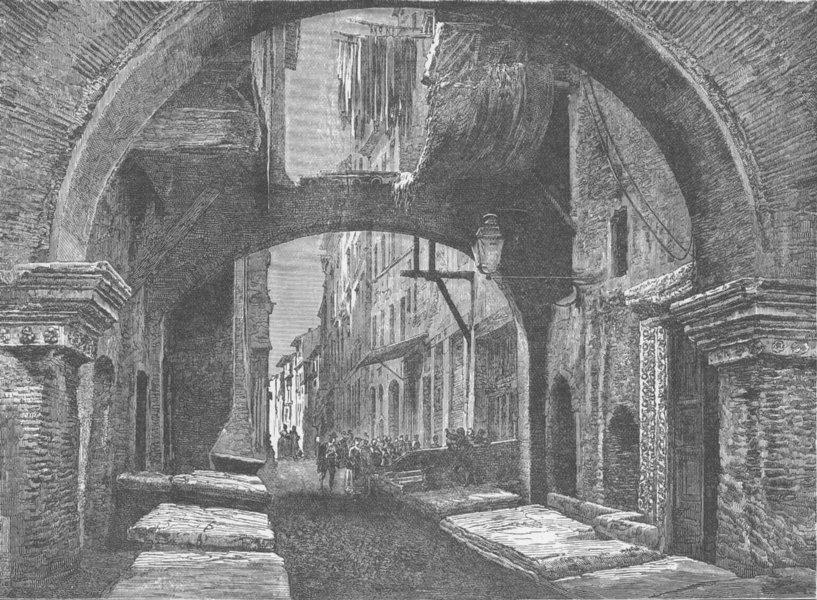 Associate Product ROME. Old fish-market (Pescheria Vecchia) Rome 1893 antique print picture