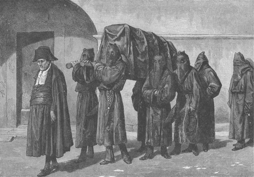 Associate Product ITALY. Brothers of the Misericordia-Tuscan religious order. Funeral 1893 print
