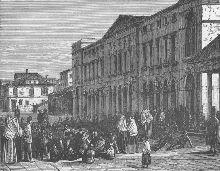 Associate Product ITALY. The town hall, Chioggia 1893 old antique vintage print picture