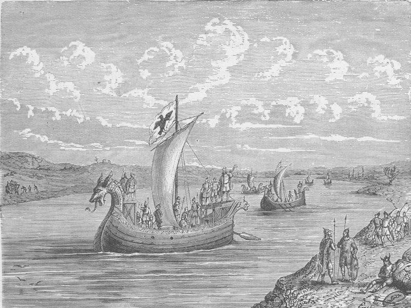 Associate Product FRANCE. Norman vessels ascending a river 1894 old antique print picture