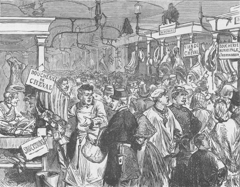 Associate Product FRANCE. Meat market, Paris, during the siege (1870)  1894 old antique print