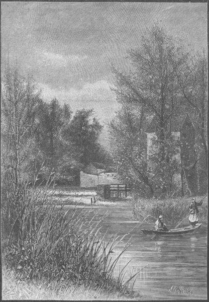 FRANCE. Mill at Gretz, Fontainebleau 1894 old antique vintage print picture