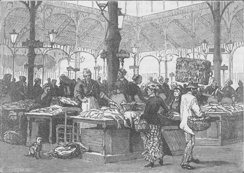 Associate Product FRANCE. French Fishwives, in the Halles Centrales, Paris 1894 old print