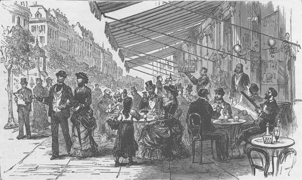 Associate Product FRANCE. Boulevard Montmartre, Paris 1894 old antique vintage print picture