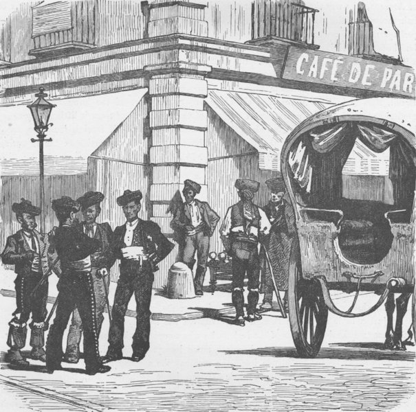 Associate Product SPAIN. Toreadors (Bull-fighters) in the streets of Madrid 1894 old print