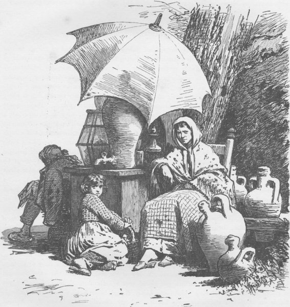 SPAIN. Lemonade-seller, Madrid 1894 old antique vintage print picture