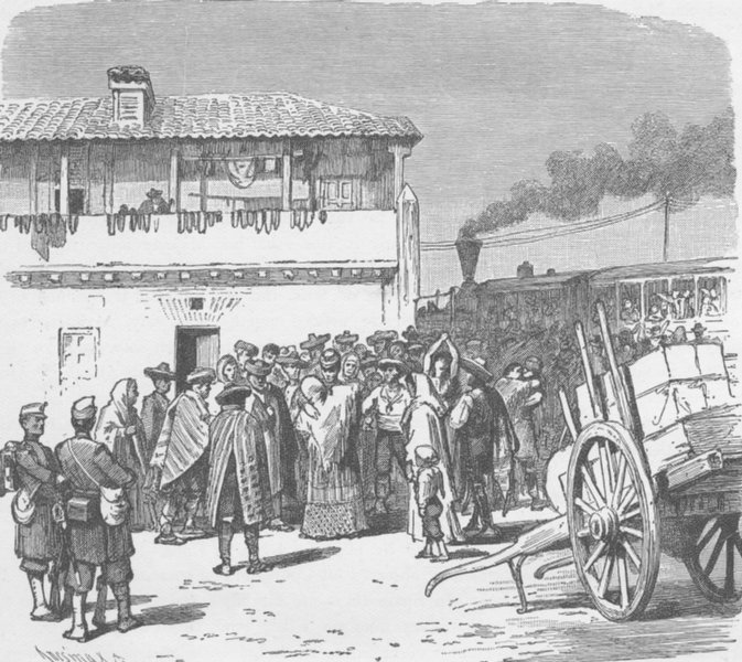 Associate Product SPAIN. Departure of recruits from Granada 1894 old antique print picture
