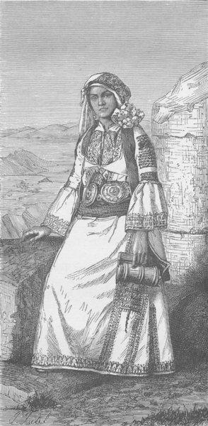 Associate Product GREECE. Greek woman of Hagios-Vasilios (Arcadia)  1894 old antique print