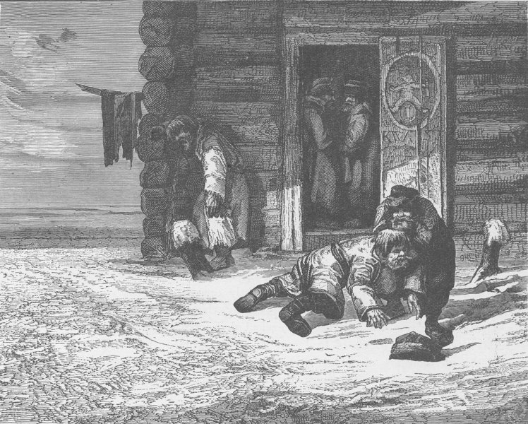 Associate Product RUSSIA. Sketch at the door of a country tavern in Russia 1894 old print