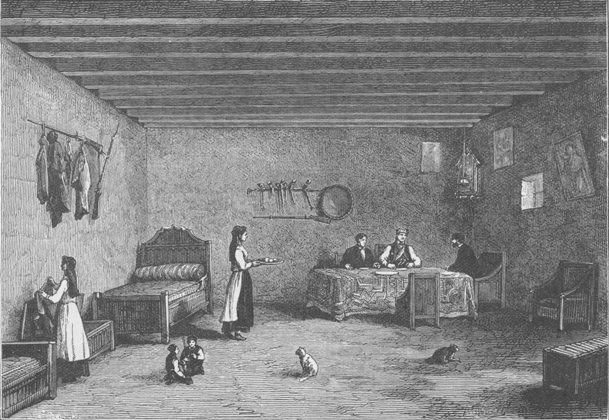 Associate Product MONTENEGRO. Interior of a Montenegrin senator's house 1894 old antique print