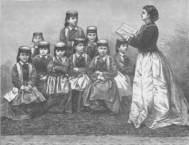MONTENEGRO. Girls school at Cetinje/Cetinje 1894 old antique print picture