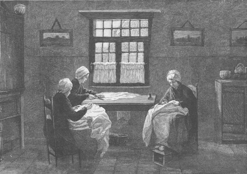 Associate Product NETHERLANDS. Dutch interior at Katwijk 1894 old antique vintage print picture
