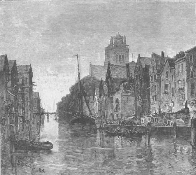 Associate Product NETHERLANDS. Old canal, Dordrecht 1894 antique vintage print picture