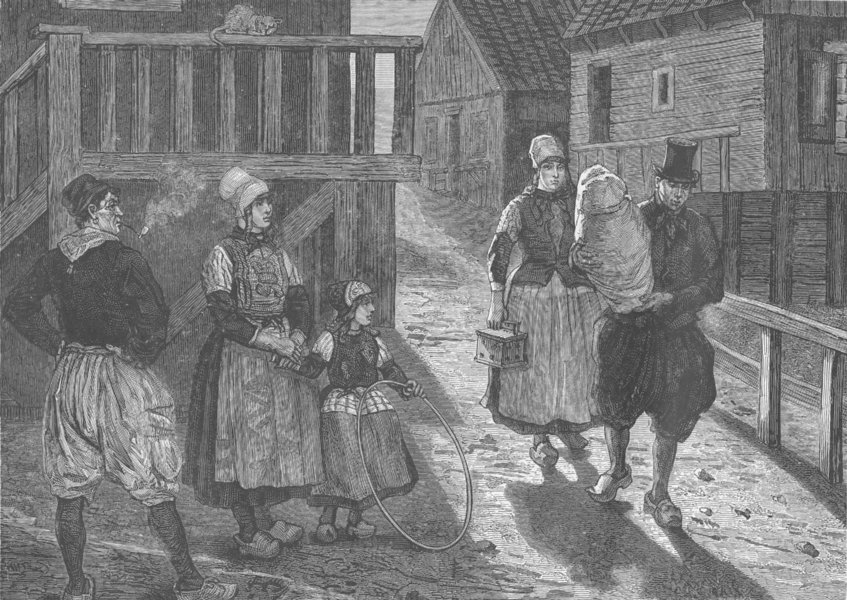 Associate Product NETHERLANDS. Christening in Marken. On the way to church 1894 old print
