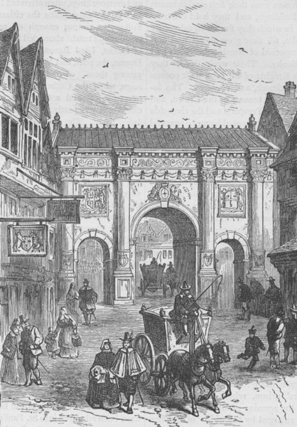 Associate Product CITY OF LONDON. The old wooden Temple Bar c1880 antique print picture