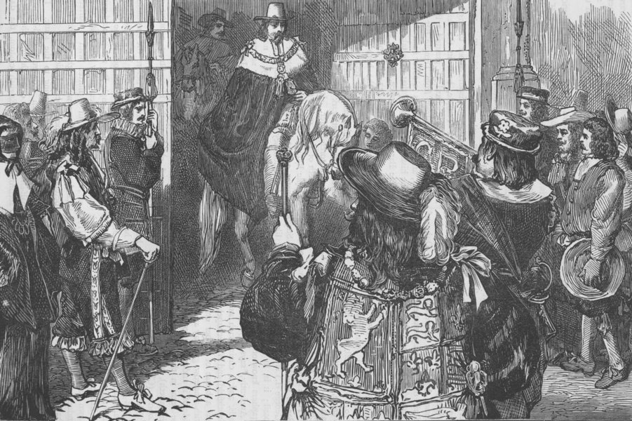 Associate Product TEMPLE BAR. Proclamation of Charles II, at Temple Bar. London c1880 old print