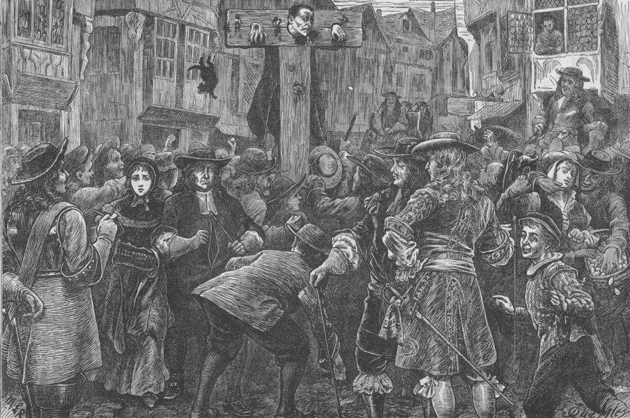 Associate Product TEMPLE BAR. Titus Oates in the pillory. London c1880 old antique print picture