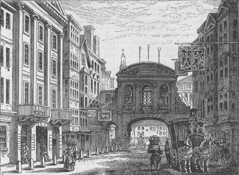 "Associate Product FLEET STREET. Temple Bar and the ""Devil Tavern"". London c1880 old print"