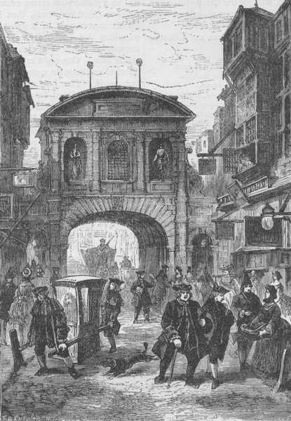 Associate Product FLEET STREET. Temple Bar in Dr. Johnson's time. London c1880 old antique print