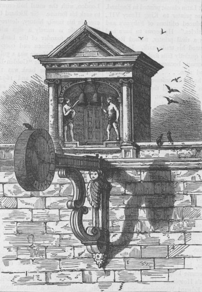Associate Product FLEET STREET. St.Dunstan's clock. London c1880 old antique print picture