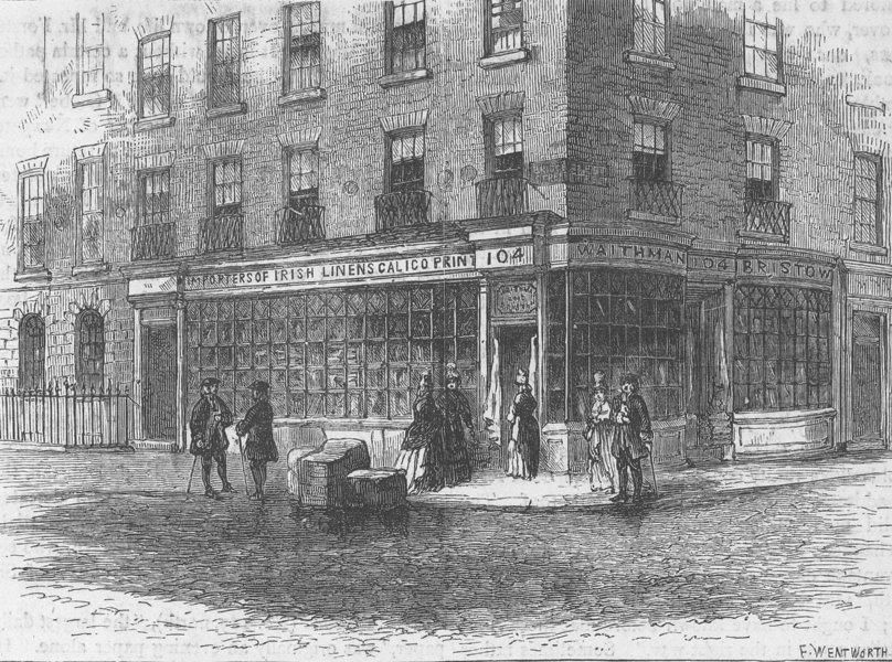 Associate Product FLEET STREET. Waithman's shop. London c1880 old antique vintage print picture