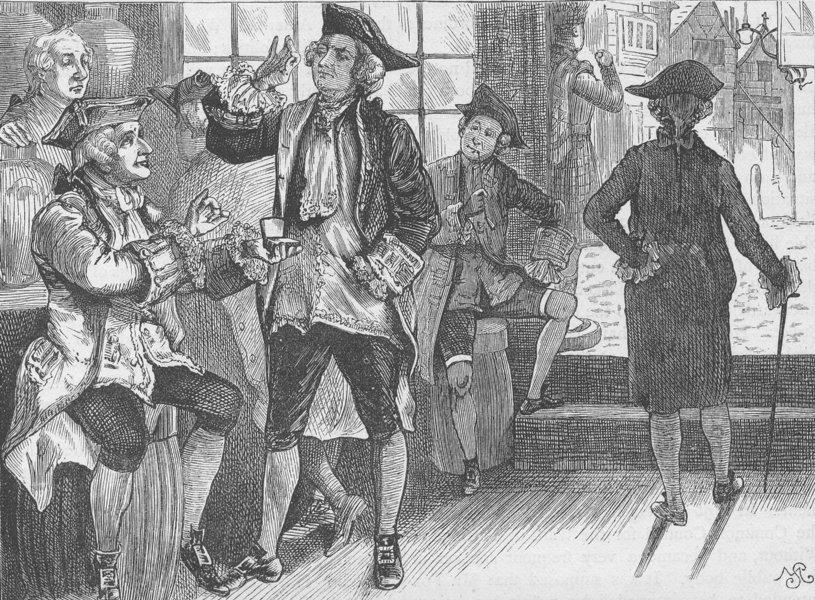 Associate Product FLEET STREET. Group at Hardham's tobacco shop. London c1880 old antique print