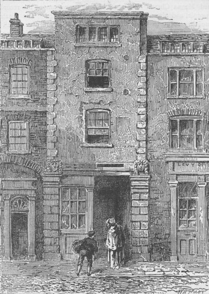 Associate Product FETTER LANE. House said to have been occupied by Dryden. London c1880 print