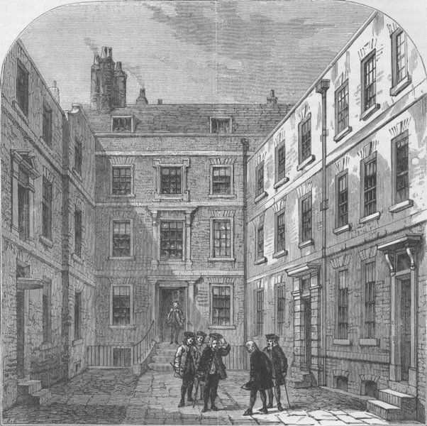 Associate Product FLEET STREET. The Royal Society's House in Crane Court. London c1880 old print