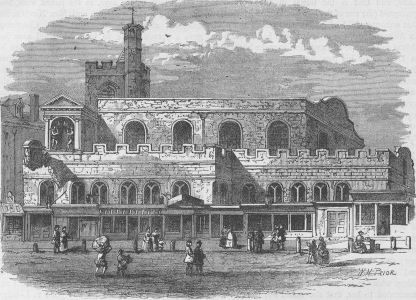 Associate Product SHOE LANE. Old St.Dunstan's church. London c1880 antique print picture