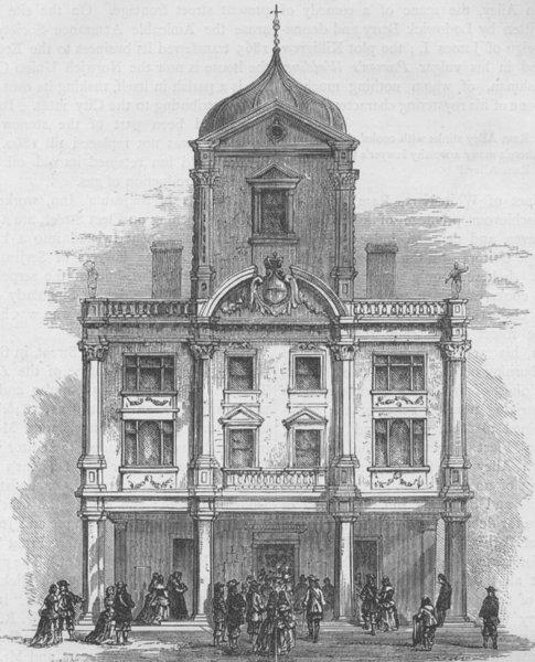 WHITEFRIARS. The Dorset gardens Theatre, Whitefriars. London c1880 old print