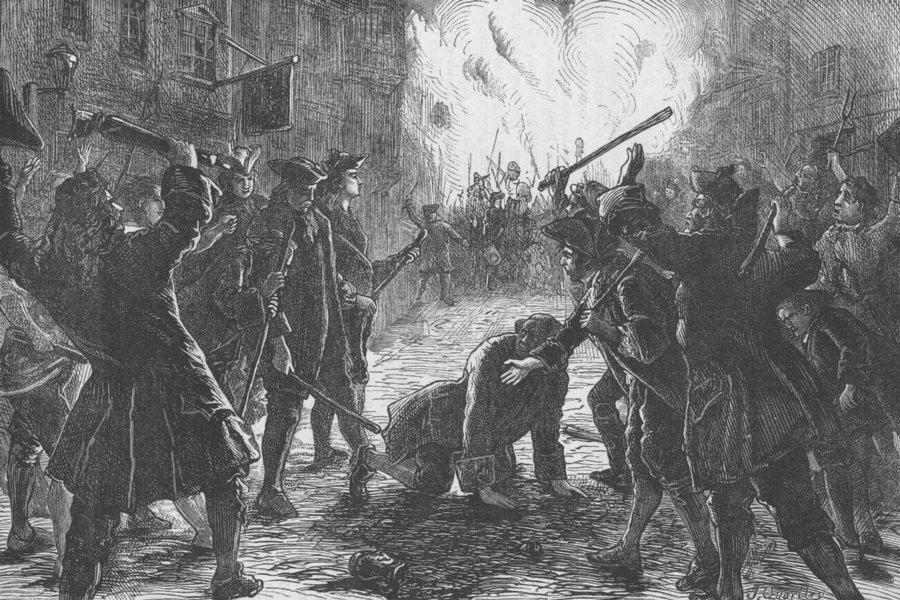 FLEET STREET. Attack on a Whig Mug-House. London c1880 old antique print