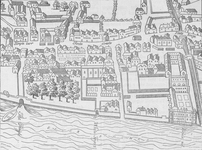 Associate Product FLEET STREET. Fleet Street, the Temple, etc. (from Aggas' plan, 1563) c1880 map