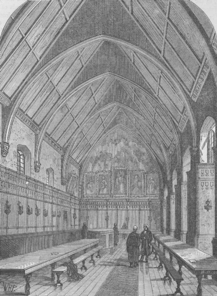 Associate Product THE TEMPLE CHURCH. The old Hall of the inner Temple. London c1880 print