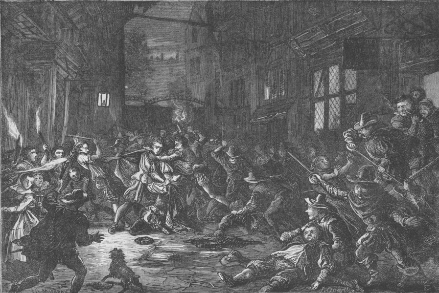 THE TEMPLE CHURCH. A scuffle between Templars and Alsatians. London c1880
