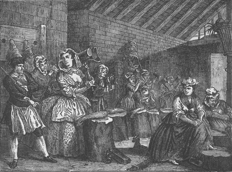Associate Product WHITEFRIARS. Beating hemp in Bridewell, after Hogarth. London c1880 old print