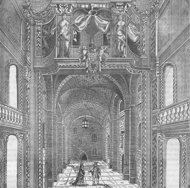 """Associate Product WHITEFRIARS. Duke's Theatre, from Settle's """"Empress of Morocco"""". Interior c1880"""