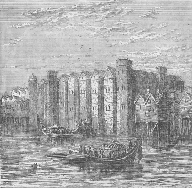 Associate Product WHITEFRIARS. Baynard's castle in 1790. London c1880 old antique print picture