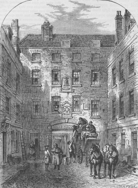Associate Product BLACKFRIARS. Outer court of la Belle Sauvage in 1828. London c1880 old print