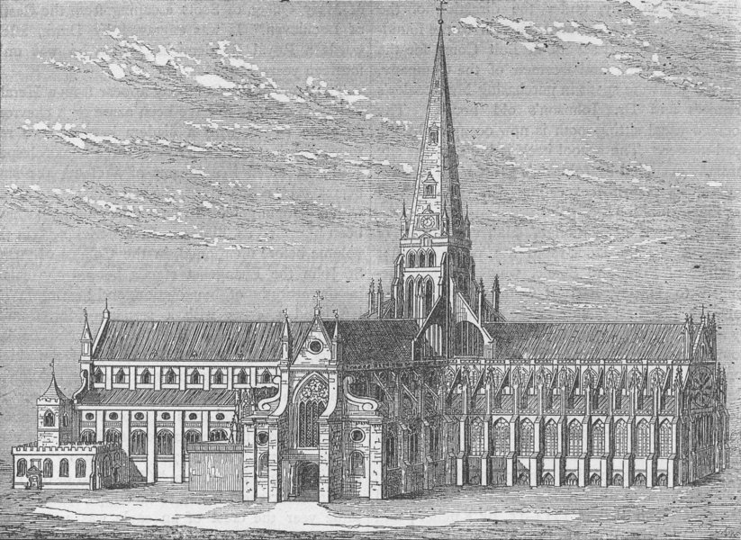 Associate Product ST.PAUL'S. Old St.Paul's, from a view by Hollar. London c1880 print